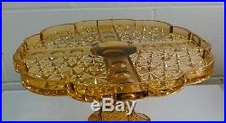 EAPG Pattern Glass Amber Daisy&Button Panel Thumbprint Pedestal Cake Plate Stand
