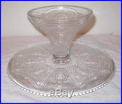 EAPG Rare Heisey Locket On Chain 1897 Pedestal Cake Plate Beaded Shield Crystal