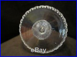 EAPG glass PEDESTAL CAKE STAND Plate Lace edge sunburst 10 ¼ W large Vintage