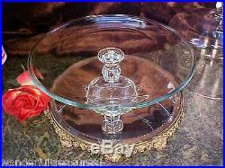 ELEGANT Sleek Glass Covered Footed Pedestal Cake Plate TRIPLE RING & BALL STEM