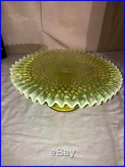 Early Fenton Vaseline Opalescent Hobnail Pedestal Cake Stand-Cake Plate-1940s