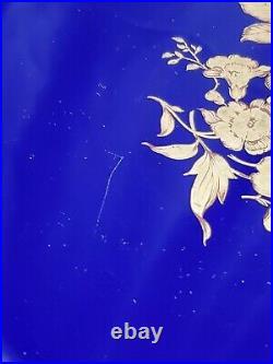 Echt Bavaria Schumann Cobalt Blue Gold Pedestal Cake Plate Raised Edges 12 Inch