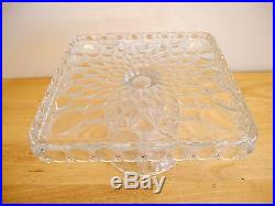 Elegant Mosser Square Clear Crystal Elizabeth Cake Pedestal, Stand, Plate, Dish