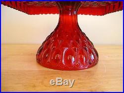 Elegant Mosser Square Ruby Red Elizabeth Cake Pedestal, Stand, Plate, Dish