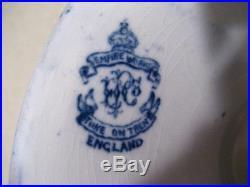 Empire Works England Flow Blue Pedestal Cake Plate Stoke on Trent Ships Harbor