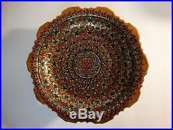 Estate Intricate Enamel Porcelain Pedestal Footed Cake/Serving Stand Plate Bowl
