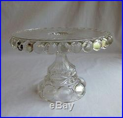 Eyewinker Clear Glass Pedestal Cake Plate, Dalzell Gilmore & Leighton Co