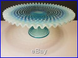 FENTON ART GLASS Blue Opalescent Hobnail Pedestal Cake Plate/Stand VINTAGE USA