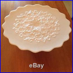 FENTON PINK Spanish Lace Milk Glass Pedestal Footed Cake Stand/Plate ScallopEdge