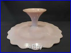 FENTON PINK Spanish Lace Milk Glass Pedestal Footed Cake Stand Plate ScallopEdge
