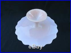 FENTON Pink Spanish Lace Milk Glass Pedestal Footed ScallopEdge Cake Plate Stand