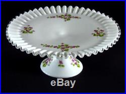 FENTON SILVER CREST PEDESTAL CAKE PLATE/STAND WithHAND PAINTED VIOLETS IN THE SNOW