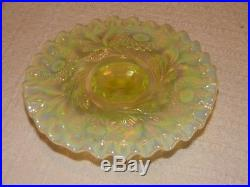 FENTON Vaseline Glass Small Cake Plate Pedestal Opalescent Ruffled