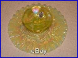 FENTON Vaseline Glass Small Cake Plate Pedestal Opalescent Ruffled