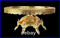 Fancy Gold metal pedestal and round crystal Cake plate with Rhinestone, Gift