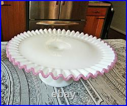 Fenton Apple Blossom Crest Pedestal Cake Plate Stand 13 1960-1961 RARE