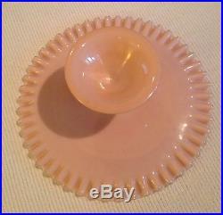 Fenton Art Glass Silver Rose Pink Pedestal Cake Plate 5 Tall x 12 3/4 Wide