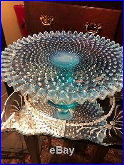 Fenton Blue Hobnail Opalescent Art Glass Cake Pedestal Dessert Plate Stand