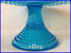 Fenton Blue Hobnail Opalescent Pedestal Cake Plate Stand Ruffled Edge, Excellent