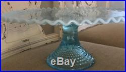 Fenton Blue Hobnail Topaz Opalescent Art Glass Cake Pedestal Dessert Plate Stand