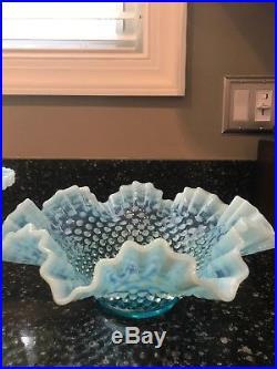 Fenton Blue Topaz Opalescent Hobnail Pedestal Cake Stand Plate Vintage