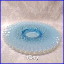 Fenton Diamond Lace Cake Plate on Pedestal Blue Opalescent Ribbon Circa 1940-50s