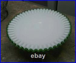 Fenton Emerald Crest Milk Glass Cake Pedestal Plate Stand
