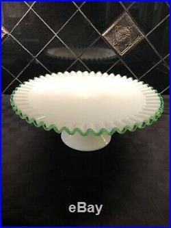 Fenton Emerald Green Crest Pedestal Cake Stand Plate Vintage