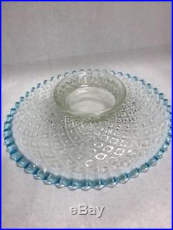Fenton Glass blue Diamond lace Pedestal cake plate platter ruffled 13 in Vintage