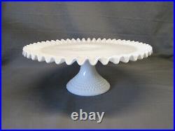 Fenton Hobnail Milk Glass CAKE PLATE PEDESTAL STAND 12 7/8 wide Serving Pie
