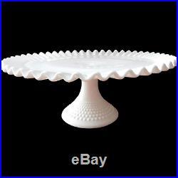 Fenton Hobnail Milk Glass Pedestal Cake Plate with Ruffled Edge