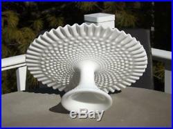 Fenton Hobnail Milk Glass Ruffled Cake Stand Plate Pedestal EXC 12 3/4W