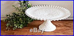 Fenton Milk Glass Spanish Lace Large Pedestal Cake Stand, Plate