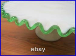 Fenton Pedestal Cake Plate, Emerald Crest