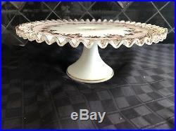 Fenton Pedestal Cake Plate Stand Charleton Rose 1950s Limited Edition