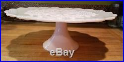 Fenton Pink Spanish Lace Pedestal Footed Cake Stand Plate