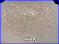 Fenton Rose Pink Pastel SPANISH LACE Scalloped Pedestal Cake Plate 12 1/2