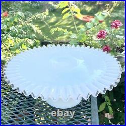 Fenton Silver Crest Milk Glass Ruffled Pedestal Cake Plate 13 Silvercrest Stand