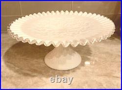 Fenton Silvercrest CAKE PLATE PEDESTAL STAND Spanish Lace 11 wide Milk Glass