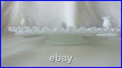 Fenton Silvercrest Milk Glass Pedestal Cake Dessert Stand Serving Plates Candle