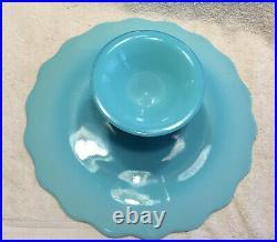Fenton Spanish Lace Aqua/Turquoise Pedestal Cake Plate