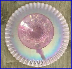 Fenton Spanish Lace Iridescent Pink Cake Plate Stand Glass Pedestal Vintage