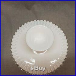 Fenton Spanish Lace Silvercrest 11 Pedestal Milk Glass Cake Plate Stand Dessert