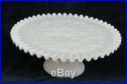 Fenton Spanish Lace Style White Milk Glass Pedestal Cake Stand Plate 1689B