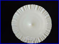 Fenton Thumbprint Milk Glass Ruffled Pedestal Cake Plate EXC