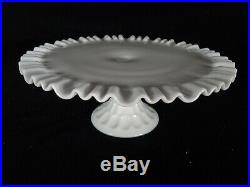 Fenton Thumbprint Milk Glass Ruffled Pedestal Cake Plate Stand