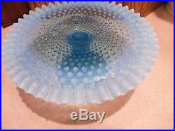 Fenton VNT. Hobnail Opalescent Topaz Blue Glass Cake Plate Pedestal Cake Stand