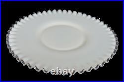 Fenton White Milk Glass Silver Crest Low Cake Plate