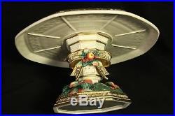 Fitz Floyd Classics China Pedestal Cake Plate Xmas Bow Fruit Gold Rim Sowy Woods