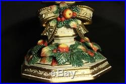 Fitz Floyd Classics China Pedestal Cake Plate Xmas Bow Fruit Gold Rim Sowy Woods